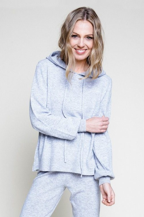 Taupebrunmelert (ikke gråmelert) cashmere/ull hoodie Ella & Il - mille
