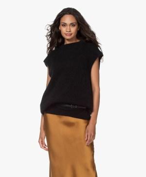 Lyseblå (ikke sort) lang mohairmix vest American Vintage - zabi 18b