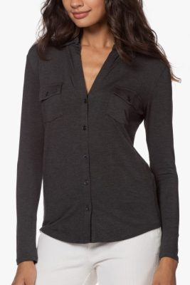 Antrasitt, sort, offwhite, marine, sjokolade viskose skjorte med brystlommer Majestic - M001-fch-005