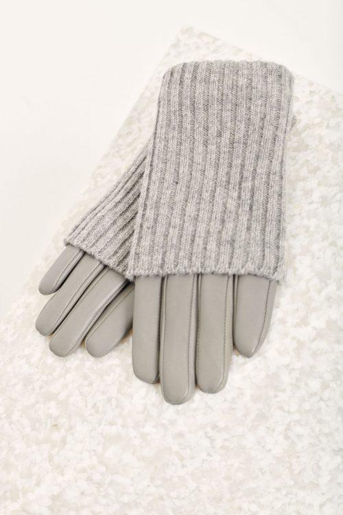 Grey melange og sort lammeskinn med pulsvarmer hansker Samsøe - 12892 sera glow