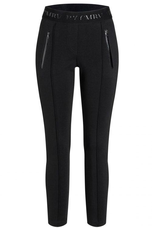 Sort technotwill bukse med elastisk midje og glidelås Cambio - 6327 0267-11 ranee 28