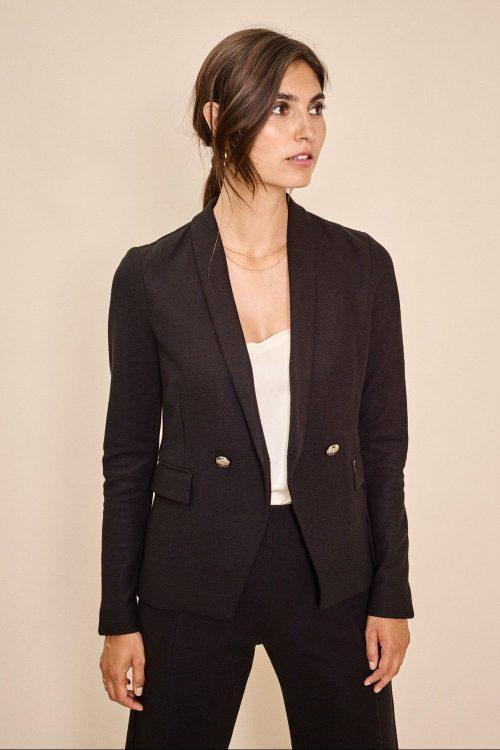 Sort sexy dressjakke med tilhørende sort vid cropped bukse Mos Mosh - 136180 beliz harper jacket / 136190 kristy harper pant