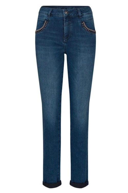 Blå jeans med med glitterstener i front Mos Mosh - 135770 naomi soho