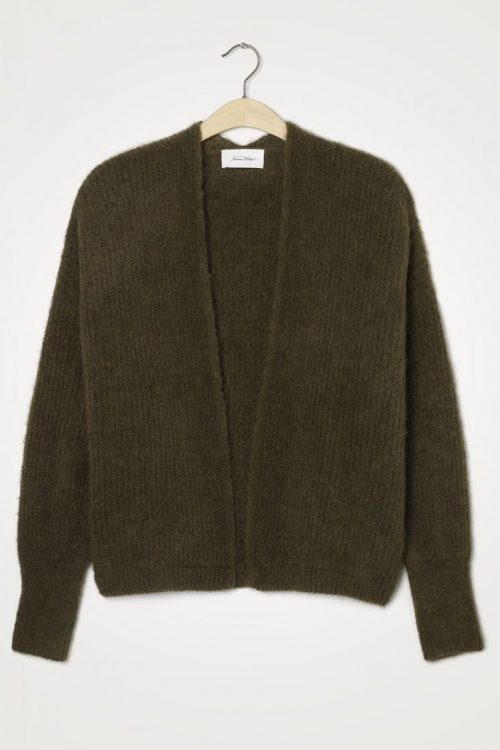 Lys gråmelert, koksgrå eller oliven alpakka ullmiks cardigan American Vintage - east19A
