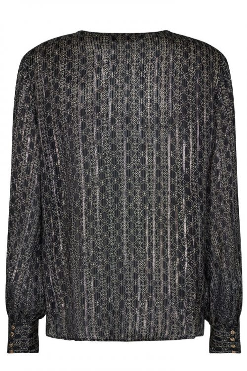 Sortsølvgull grafisk mønstret viskose bluse Mos Mosh - 135940 perla tile blouse