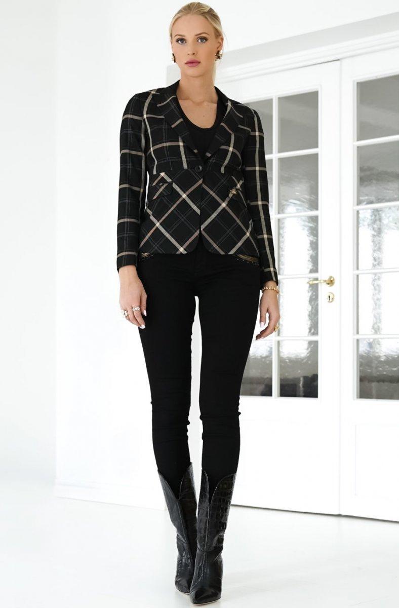 Sortbeigerutet jakke med tilhørende dressbukse Mos Mosh - 135540 Perry Bento Blazer / 135541 Milton Bento Pant Ankle