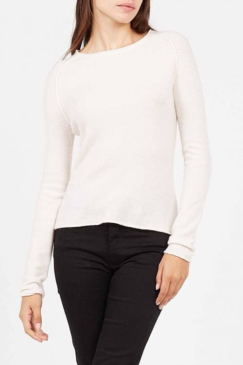 Lys gråmelert, offwhite eller beige tynn ullmiks genser med utvendige sømmer American Vintage - dam18b