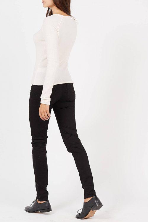 Lys gråmelert, offwhite eller beige tynn ulmiks genser med utvendige sømmer American Vintage - dam18b