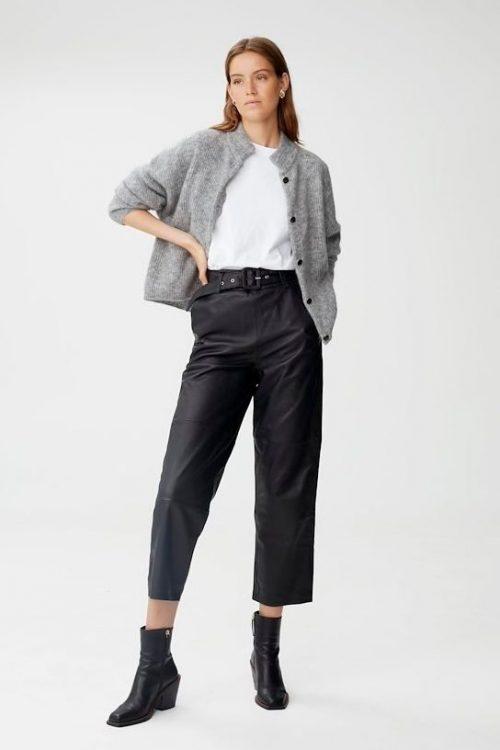 Sort, gråmelert, offwite, blåmelert eller oliven mohairmix cardigan med krage Gestuz - debbie short