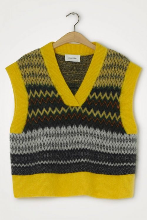 Jaquard canari chin mønstret kid mohairmix vest American Vintage - Zabi 18c
