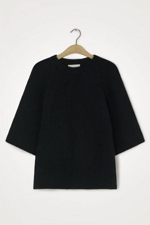 Sort trendy alpakkamix genser med 3/4 erm American Vintage - east18d