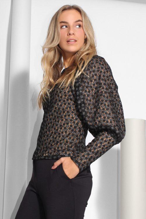 Sortmønstret bluse med lange mansjetter Samsøe - pimo blouse