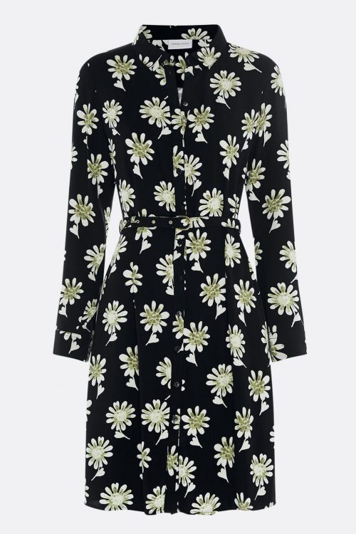 Sortpistasje mønstret viskose/rayon feminin skjortekjole med belte Fabienne Chapot - heyley dress