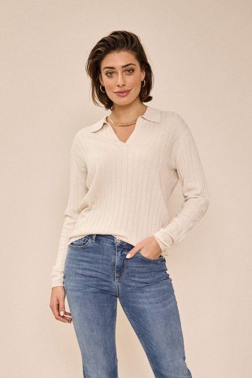 Ecru ribbet ull/bomull/viskose skjortegenser Mos Mosh - 136630 wylie rib knit