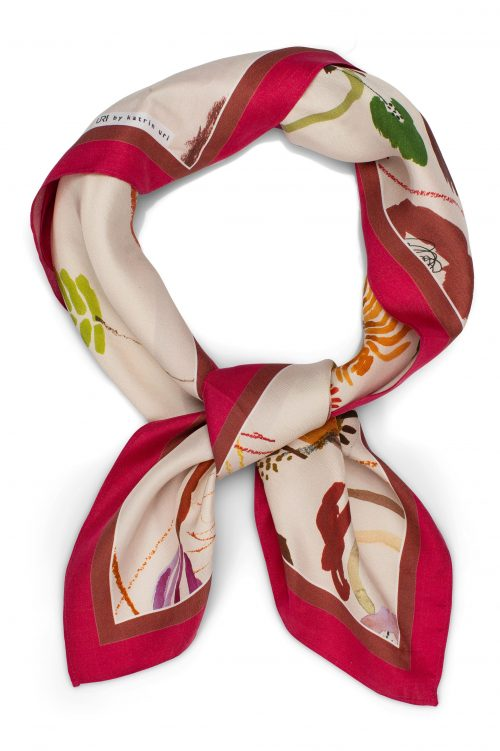 Memories rasberry lite silke skjerf Katrin Uri - 977 Mål: 70 x 70 cm