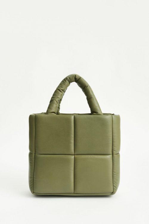 Oliven eller sort liten rutet lammeskinn veske Stand Studio - rosanne bag / 29cm x 25cm x 12cm