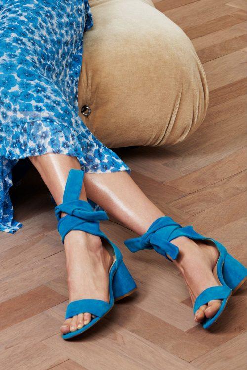 Artisan blue sko med åpen tå og knyting Fabienne Chapot - celene sandal