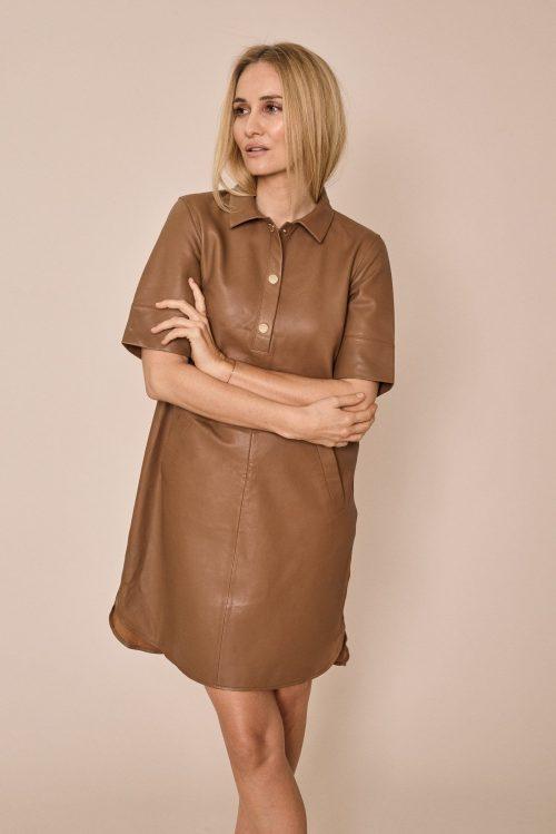 Toasted coconut eller new sand skinnkjole Mos Mosh - Ester Leather dress