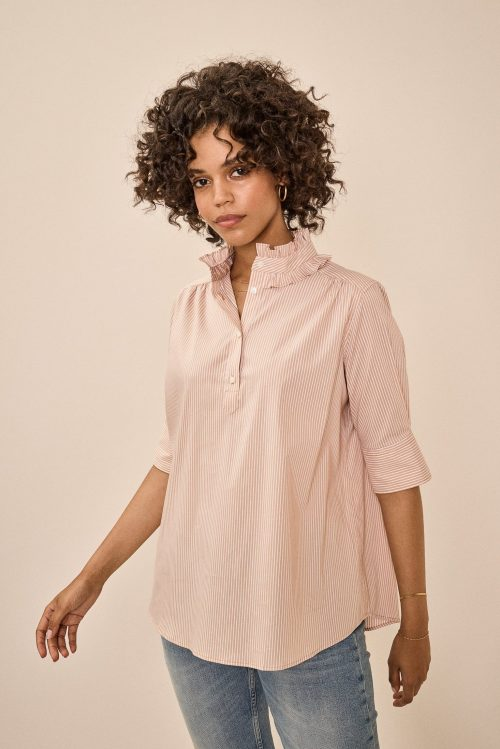 Cuban sand stripet eller lyseblå stripet bomull bluse med rysjekant og 3/4 erm Mos Mosh - 136920 lina frill blouse