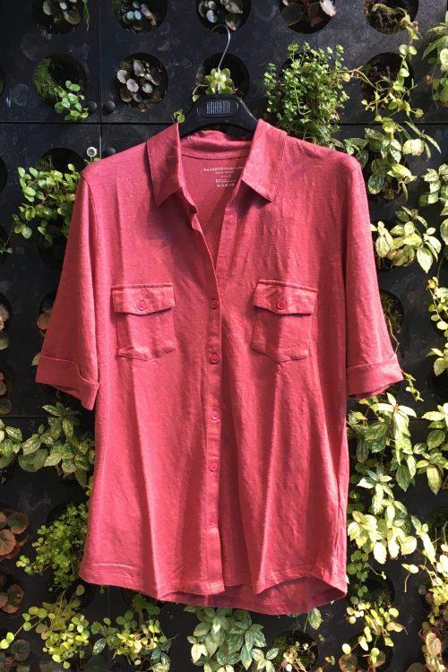 Pudder, vasket bringebær, hvit eller lindegrønn lin signaturskjorte med brystlommer og kort erm Majestic - m011 fch 014