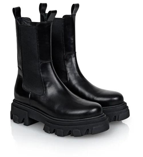 Sorte boots med virkelig grov såle Shoe Biz - Uma Vaca Alfa Polido B9562