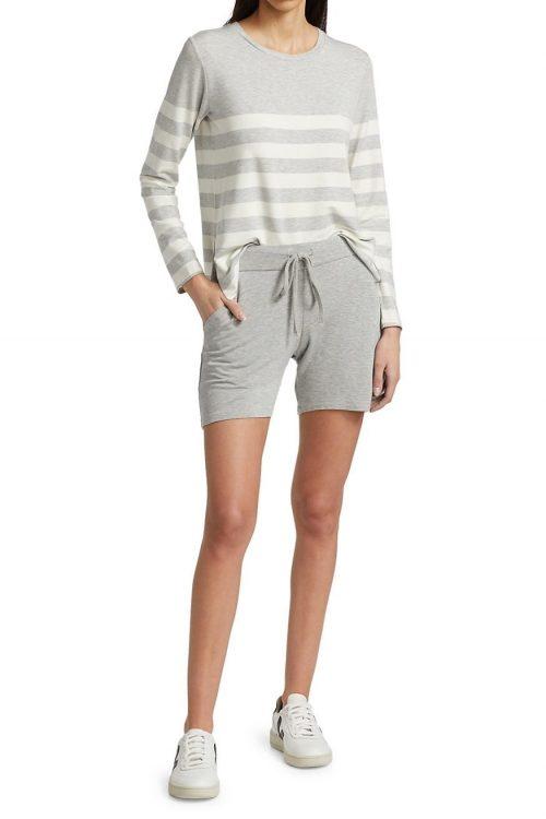 Lys gråmelert soft touch viskose shorts Majestic - m003 fpa 068