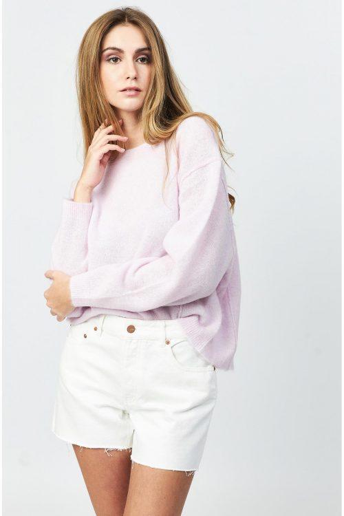 Orchidee chine eller lys gråmelert ull/alpakka miks vid genser med coole utvendige sømmer American Vintage - raz18a