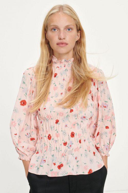 Pink garden lang 100% viskose blusetopp Samsøe - 13018 sarami blouse