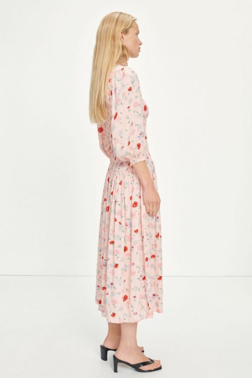 Pink garden lang 100% viskose kjole Samsøe - 13018 sarami dress