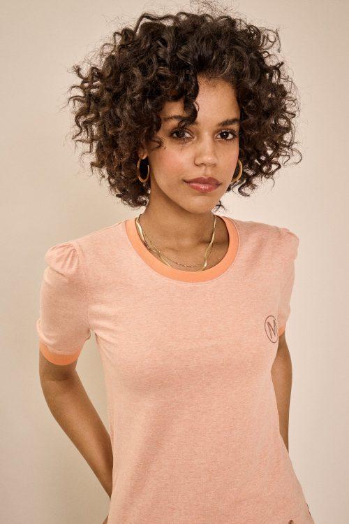 Peach parfait feminin t-shirt med puffsuldre Mos Mosh - 136450 wyetta o ss tee
