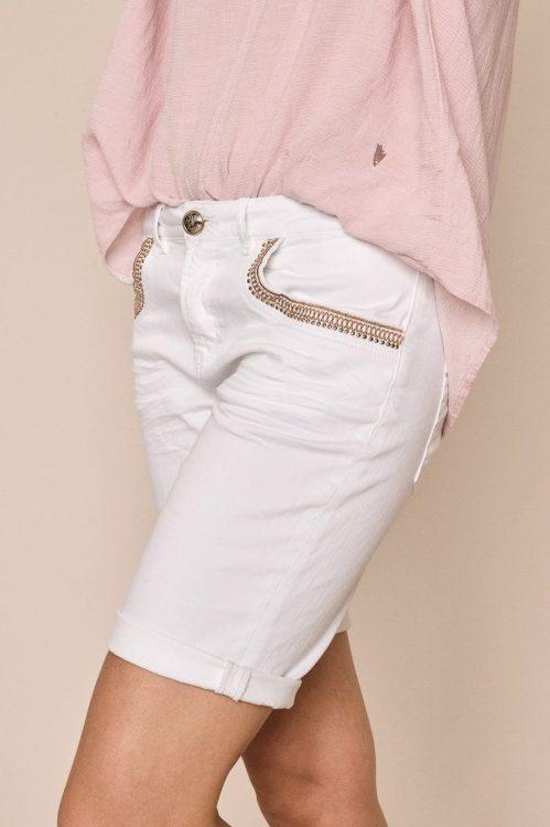 Hvit shorts med gullstikninger Mos Mosh - 138780 Bradford Mercury White Shorts Short White
