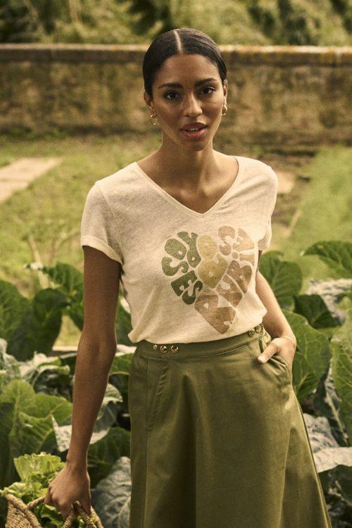 T-shirt med skrift Mos Mosh - 138590 Rubies V-SS Tee