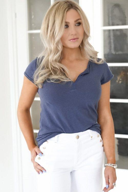 Vintage blue, sort, nektarin eller winter moss lin/bomull t-shirt Mos Mosh - troy tee ss Hvite sailor jeans med knapper Mos Mosh - 138890 Reem Vera White Jeans