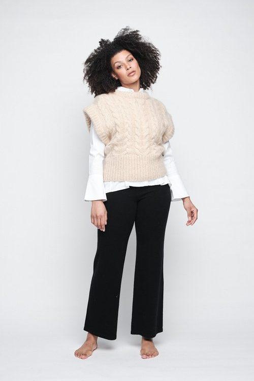 Varm beige mohair/merino oversized flettet vest Ella&Il - lama chunky vest