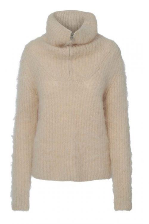 Varm beige mohair/merino chunky genser med høy hals og glidelås Ella&Il - love sweater