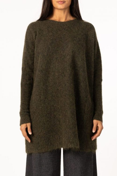 Army eller grey melange kid mohair mix lang genser og lommer Cathrine Hammel - 184.221