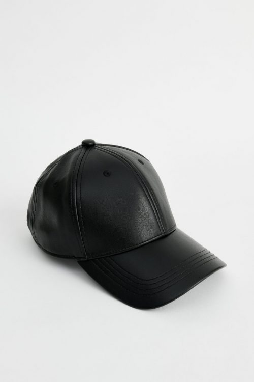Sort caps i fake skinn Stand Studio - 61505-8090 cia cap faux leather elevated