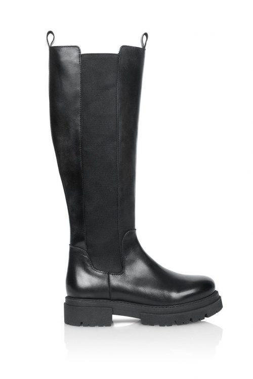 Sort skinn støvlett med stretchfelt Shoe Biz - sky vaca alfa
