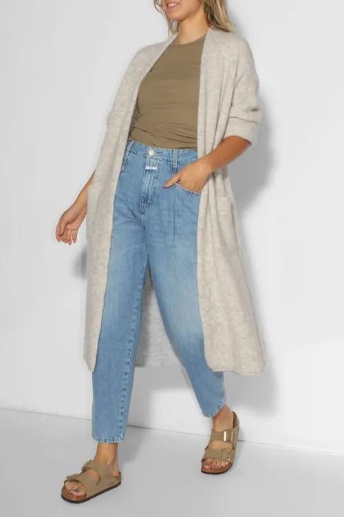 Lang råkul koksgrå (ikke ecru) alpakkamiks cardigan American Vintage - east19D