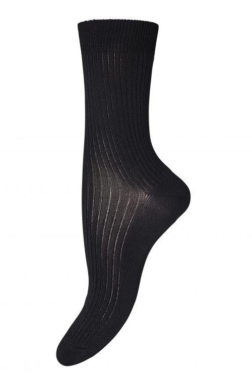 Sort ribbet viskomemix sokk MP Denmark - 59535-08 Vicki 80% viskose, 17% polyamid, 3% elastan