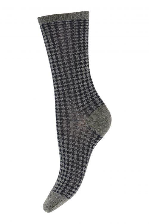 Gråsort hundetunge ullmix mønstret sokk MP Denmark - 79647-3010 Piper. 50% Superwash wool, 28% Metallic, 18% Polyamide, 4% Elastane