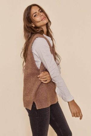 Taupebrun melert ull/mohair vest med v-hals - 139770 zahra knit slipover