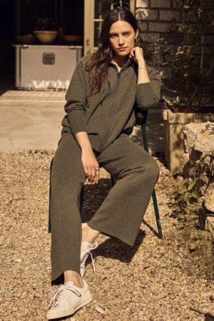 Grønn 100% ull vid strikket bukse Mos Mosh - 139720 cilla knit pant