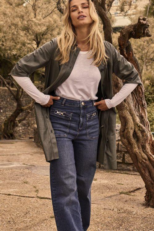 70 talls vid jeans med høyt liv og bissel ved lomme Mos Mosh - 140311 colette jane jeans