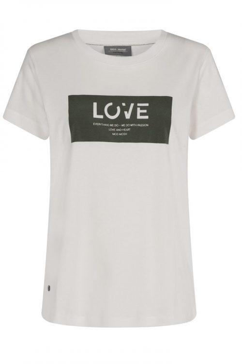 Hvit t-shirt med love Mos Mosh - 136410 cherie tee