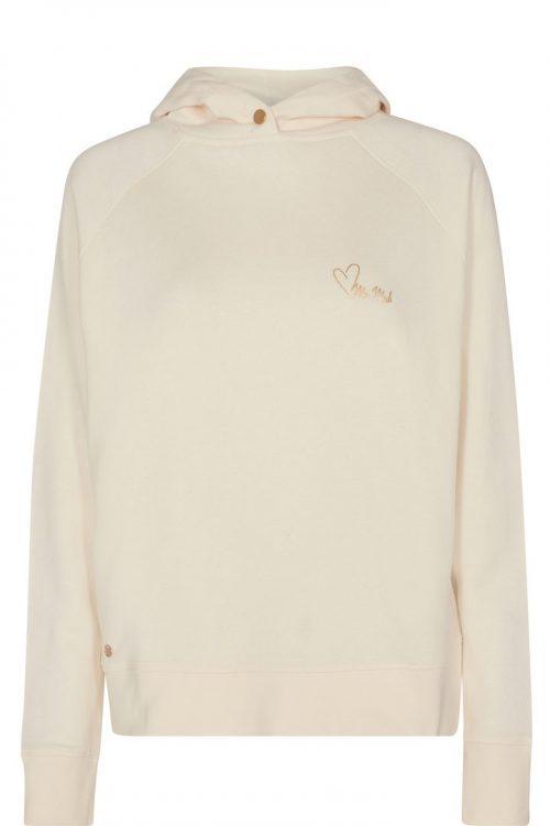 Ecru bomull/visksose hoodie med fleece Mos Mosh - 139290 kash glam hoodie