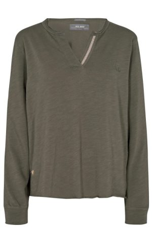 Grønn eller salut navy long sleeve røff topp med strass Mos Mosh - Noria 139330 noria ls placket tee