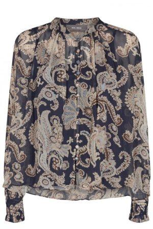 Blåbeige paisley ledig bluse med singlett Mos Mosh - 140090 macha persia blouse