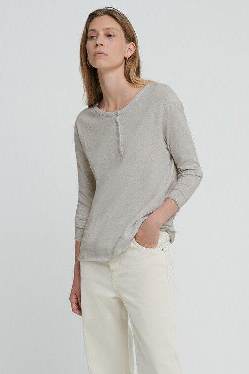 Hvit og artic lys grå kraftig bomull bestefars trøye med knapper American Vintage – son02E
