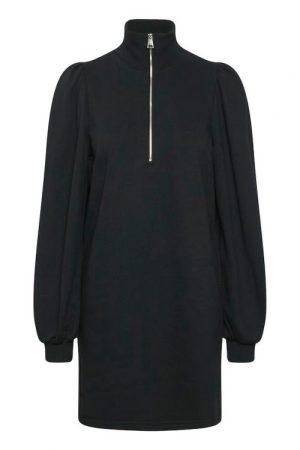 Sort feminin organisk bomull jersey kjole med zip Gestuz - nankita zipper dress